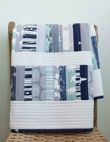 Copy of Organic Baby Quilt, Woodland Walk in Navy and Grey