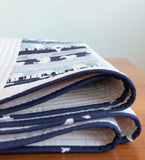 Organic Baby Quilt, Woodland Walk in Navy and Grey, Made to Order