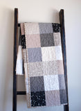 Neutral Patchwork Baby Quilt in Grey, Taupe, White