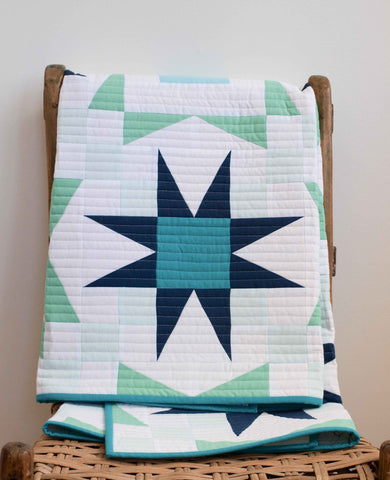 Stargazer Modern Patchwork Baby Quilt in Blue, Mint, & White