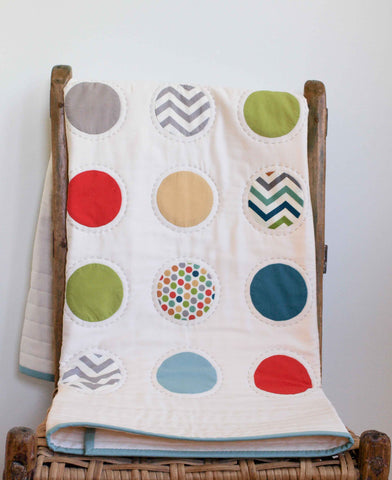 Modern Dots Baby Quilt in Red, Aqua, Teal, Green, Gray, Yellow
