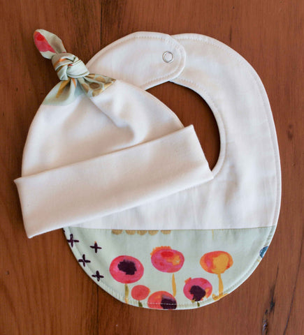 Green Floral Organic Cotton Baby Hat and Bib Gift Set, Sage Poem