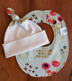 Modern Floral Baby Hat and Bib Gift Set for Baby Girl