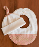 Pink and Gold Baby Hat and Bib Gift Set