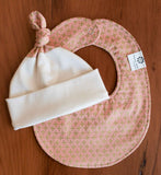 Pink and Gold Newborn Hat and Teething Bib