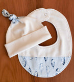 Blue Feathers Organic Cotton Baby Hat and Bib Gift Set