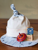 Blue Feathers Knot Hat and Drool Bib Gift Set