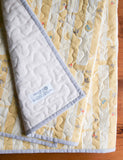 Yellow and Ivory Flannel Baby Quilt with Grey Trim