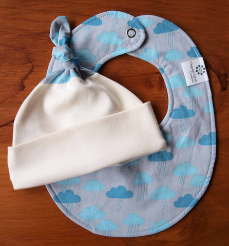 Baby Hat and Bib Gift Set, Cloudy Days