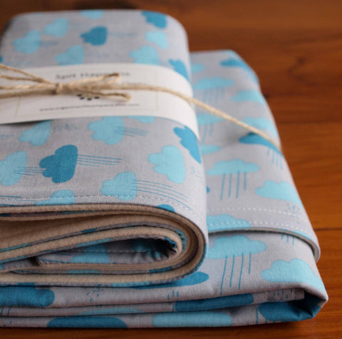 Baby Blanket and Burp Cloths Gift Set, Cloudy Days