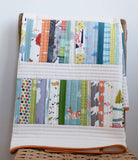 Organic Baby Quilt, Woodland Walk in Aqua, Green, and Pumpkin, Made to Order