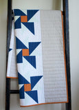 Modern Handmade Baby Quilt in Blue, Grey, White, Orange