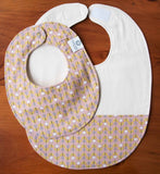 Feeding Bib and Baby Drool Bib, Pink with Flowers