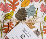 Colourful, Woodland Leaves Organic Cotton Baby Blanket
