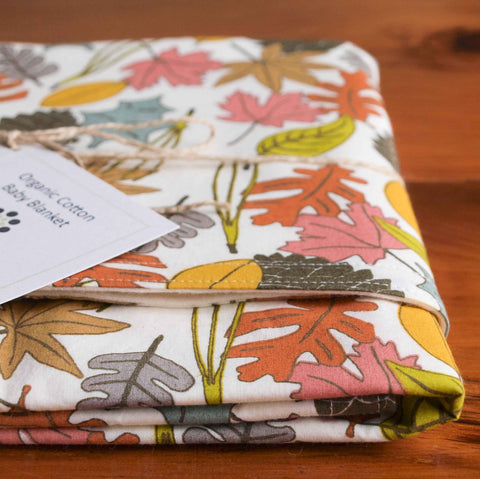 Woodland Leaf Organic Cotton Baby Blanket, Forest Leaves
