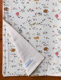 Woodland Animal Baby Blanket, Bunnies, Hedgehogs, Squirrels