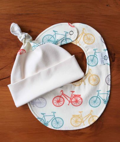 bicycle print baby bib and hat gift