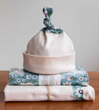 Bluebird and Cream Baby Hat, Blanket, Burp Cloths