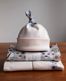 Modern Birds Baby Blanket, Hat and Burp Cloths for Boy or Girl