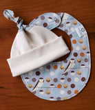 Grey Birds and Polka Dots Hat and Bib Set for Newborn Baby