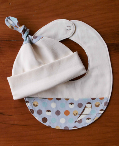 Grey Polka Dots and Birds Baby Hat and Bib Gift Set