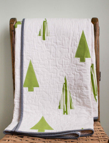 Modern Tree Quilt, Winter Woods, Made to Order