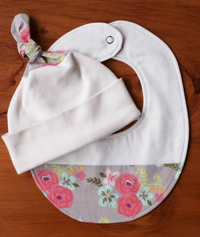 Floral baby hat and bib gift, pink and aqua