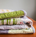 Patchwork Baby Quilt in Grey, Green, Yellow