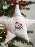 Star Christmas Tree Ornament, Hand-embroidered Bird