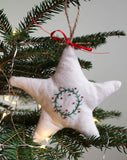 Star Christmas Tree Ornament, Hand-Embroidered Holiday Wreath