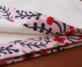 Handmade Organic Cotton Swaddling Blanket with Pink Trim
