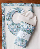 Organic Cotton Baby Blanket, Hat, Bib, Burp Cloths in Blue and Ivory