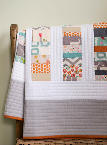 Organic Cotton Patchwork Baby Quilt, Aqua, Grey, Orange