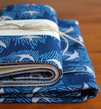 Blue with Grey Birds Baby Blanket and Burp Cloth Set