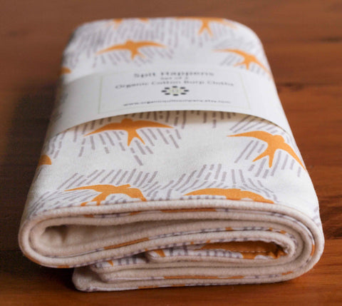 Yellow Birds Organic Cotton Baby Burp Cloths