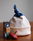Blue and Ivory Baby Hat, Whitehaven Navy