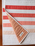 Modern Peach and White Striped Toddler Quilt