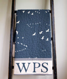 Organic Baby Quilt in Navy Flight, Made to Order