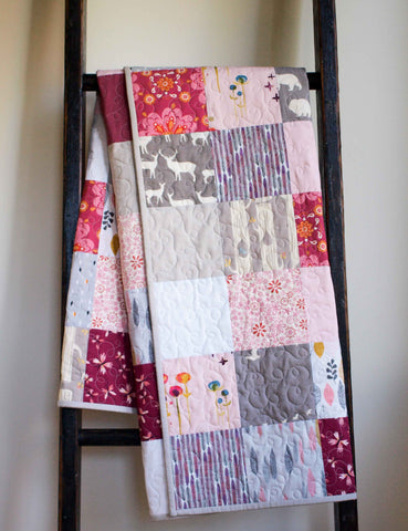 Custom Patchwork Squares Baby Quilt in Pink and Grey