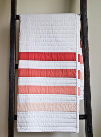 Coral and White Striped Baby Quilt