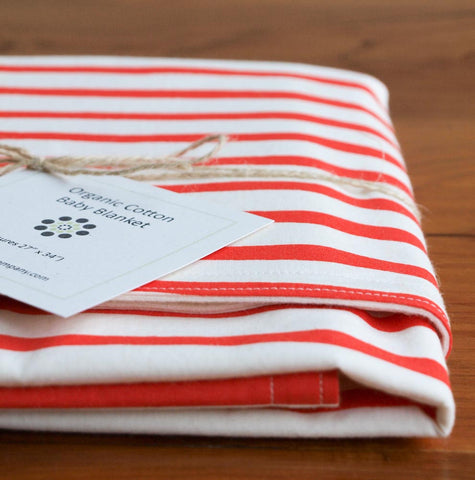 Red Sailor Stripes Organic Baby Blanket