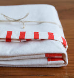 Red and White Organic Flannel Baby Blanket