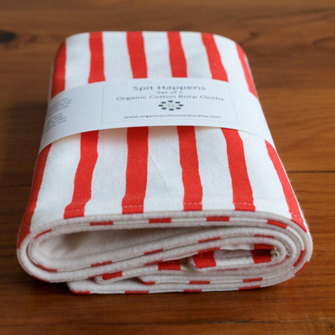 Red and White Sailor Stripes Baby Burp Cloths Set