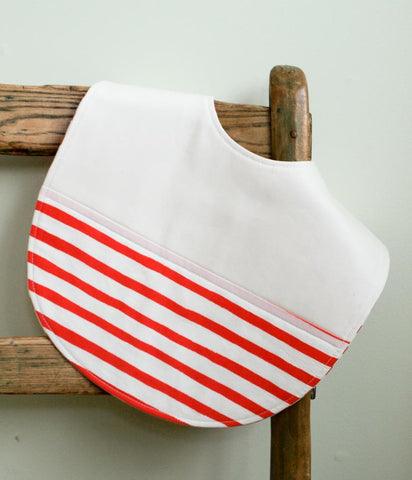 Feeding Bib, Red and White Stripes