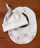 Yellow Birds Baby Hat and Bib