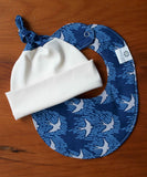 Blue and Grey Birds Teething Bib and Cap