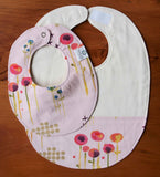 Toddler Feeding Bib and Baby Bib, Pink Flowers