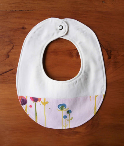 Baby Bib, Pink with Flowers
