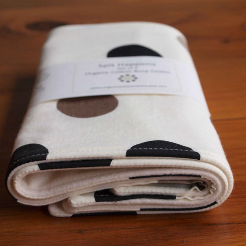 Baby Burp Cloths, Grey and Black Polka Dots