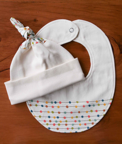 Rainbow Polkadot Baby Hat and Bib Gift Set